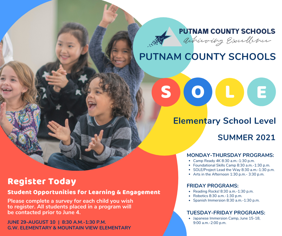 Putnam County Schools'  Elementary Summer Sole Program