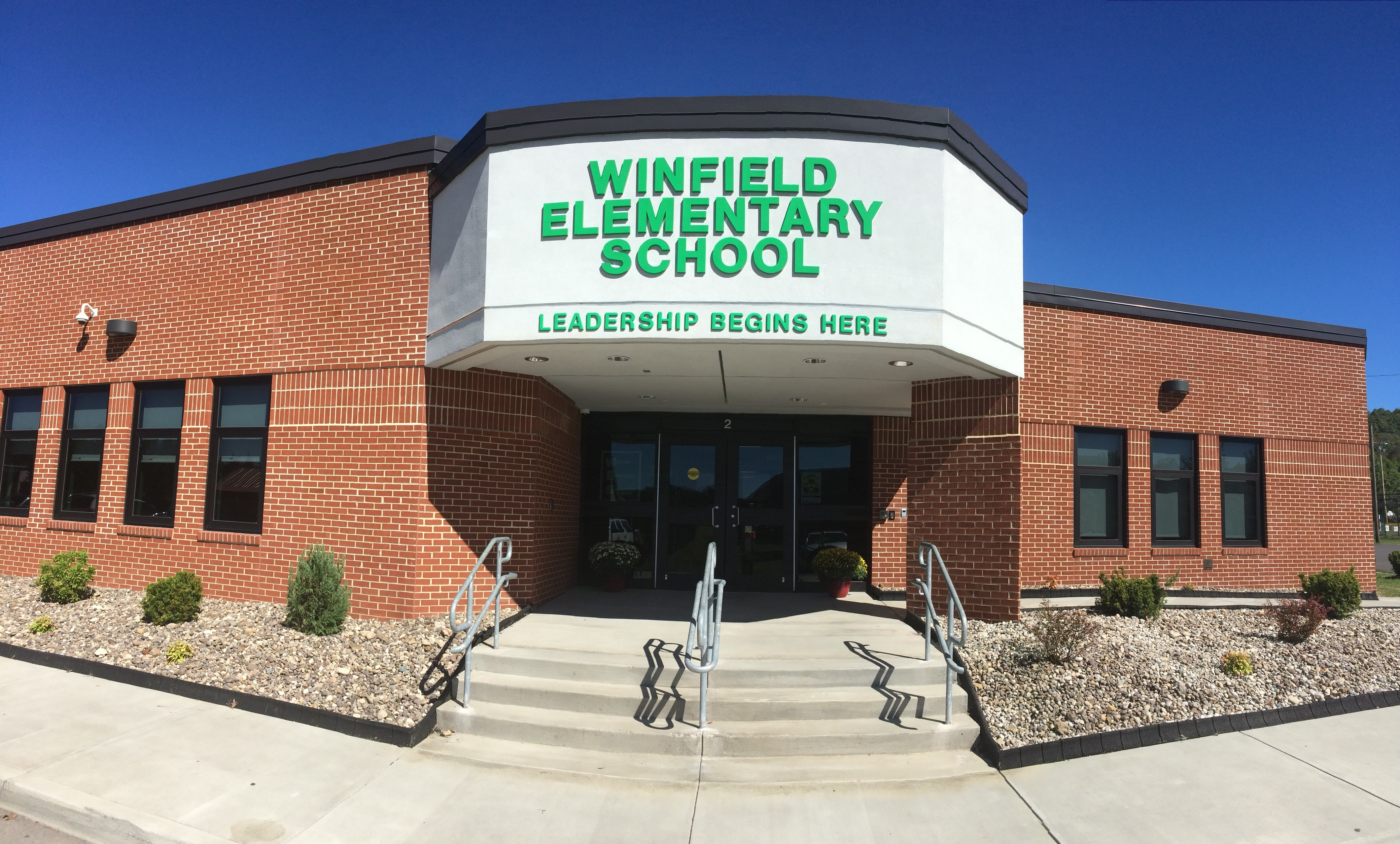Main Entrance to Winfield Elementary School, Leadership Begins here.