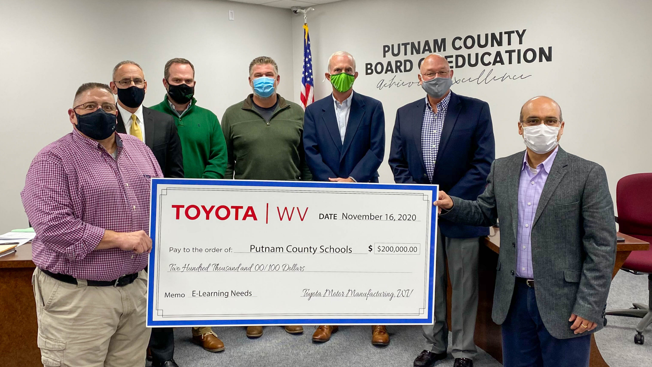 Toyota West Virginia President, Srini Matam, presents TOYOTA E-Learning Grant to Putnam County Schools at the Putnam County Board of Education Meeting on Monday, November 16, 2020. Thank you TOYOTA!