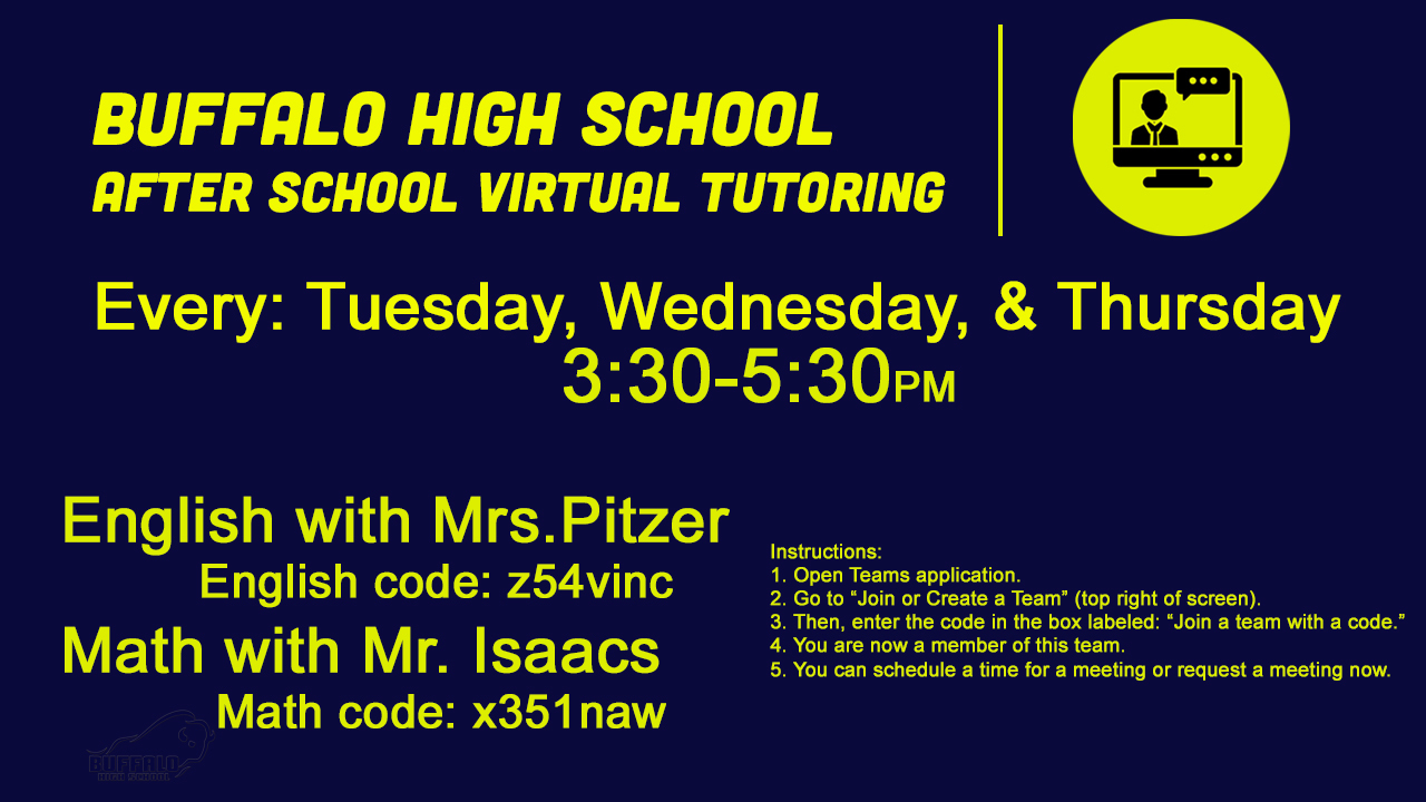 Virtual After School Tutoring times and codes, please contact school