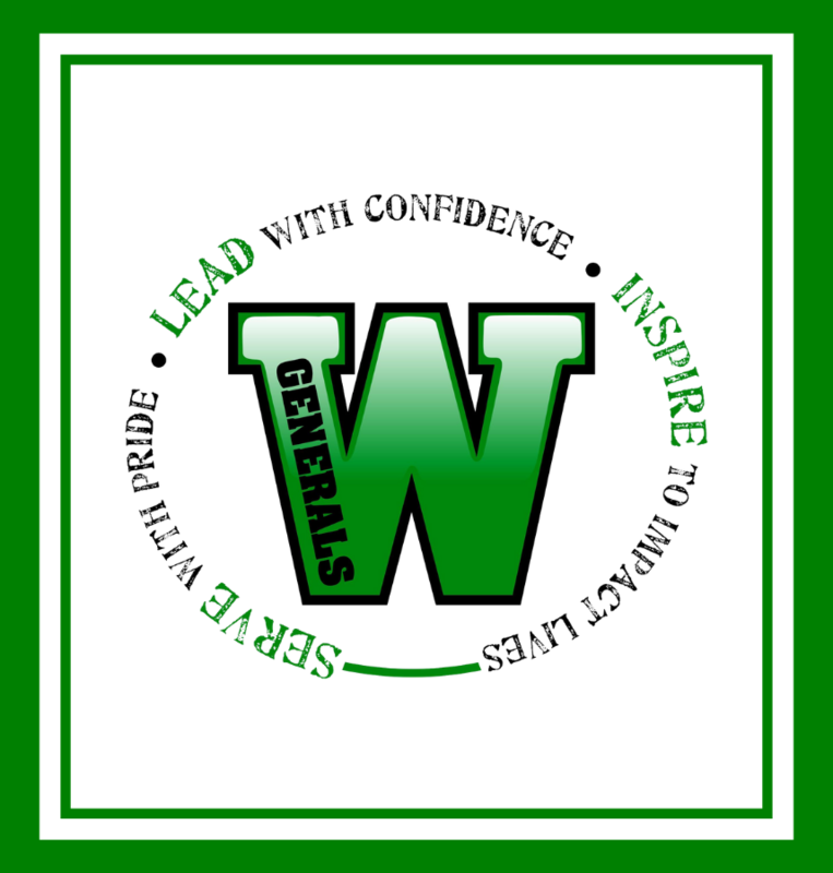 Winfield Logo with circling text phrases that reads, Lead with Confidence, Inspire to Impact Lives, and Serve with Pride.